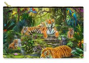 Tiger Family At The Pool Carry-all Pouch