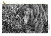 Tiger Stalking In Black And White Carry-all Pouch