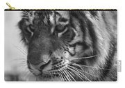 Tiger Stare In Black And White Carry-all Pouch