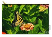 Tiger Swallowtail And Peppermint Stick Zinnias Carry-all Pouch