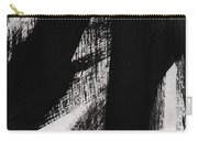 Timber- Vertical Abstract Black And White Painting Carry-all Pouch