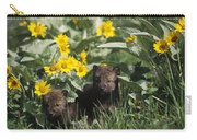 Timber Wolf Pups And Flowers North Carry-all Pouch