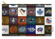 Time To Lace Up The Skates Recycled Vintage Hockey League Team Logos License Plate Art Carry-all Pouch