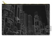 Times Square Nyc White On Black Carry-all Pouch by Meandering Photography
