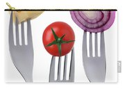 Tomato Cheese And Onion On Forks Against White Background Carry-all Pouch