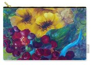 Too Delicate For Words - Yellow Flowers And Red Grapes Carry-all Pouch