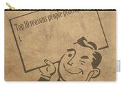 Top Ten Reasons People Procrastinate Pun Humor Motivational Poster Carry-all Pouch