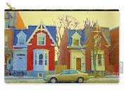 Town Houses In Winter Suburban Side Street South West Montreal City Scene Pointe St Charles Cspandau Carry-all Pouch