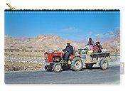 Tractor Towing A Wagon Along The Road To Shigatse-tibet Carry-all Pouch
