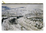Train In The Snow At Argenteuil Carry-all Pouch by Claude Monet