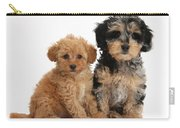 Tricolor Merle Daxie-doodle And Red Toy Carry-all Pouch