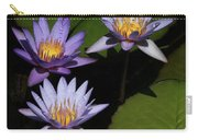 Trio Of Purple Water Lilies Carry-all Pouch