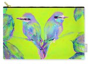 Tropical Birds Blue And Chartreuse Carry-all Pouch