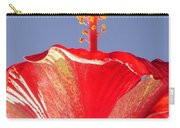 Tropical Red Hibiscus Flower Against Blue Sky  Carry-all Pouch