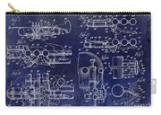Trumpet Patent Drawing Blue Carry-all Pouch