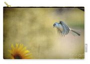 Tufted Titmouse Flying Over Flower Carry-all Pouch