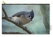 Tufted Titmouse With Snowflake Decorations Carry-all Pouch