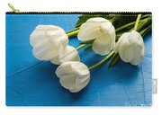 Tulip Flowers Over Blue Carry-all Pouch