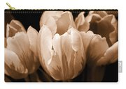 Tulip Flowers Sepia Monochrome Carry-all Pouch