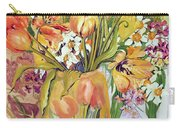 Tulips And Narcissi In An Art Nouveau Vase Carry-all Pouch by Joan Thewsey