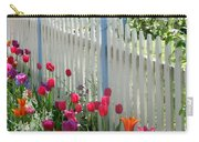 Tulips Garden Along White Picket Fence Carry-all Pouch