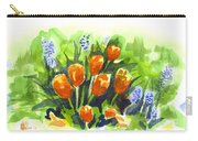 Tulips With Blue Grape Hyacinths Explosion Carry-all Pouch