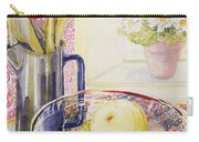 Tulips With Fruit In A Glass Bowl  Carry-all Pouch by Joan Thewsey
