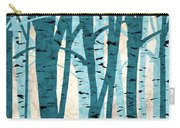 Turquoise Birch Trees Carry-all Pouch