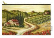 Tuscan Road With Poppies Carry-all Pouch by Marilyn Dunlap