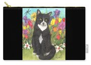 Tuxedo Cat Spring Flowers Feline Animal Pets Art Carry-all Pouch
