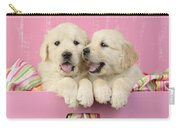 Twin White Labs In Pink Basket Carry-all Pouch by Greg Cuddiford