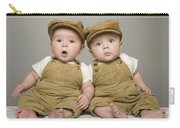 Two Babies In Matching Hat And Overalls Carry-all Pouch