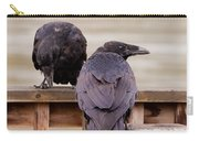 Two Common Ravens Corvus Corax Interacting Carry-all Pouch