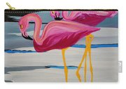 Two Flamingo's In Acrylic Carry-all Pouch