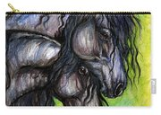 Two Fresian Horses Carry-all Pouch