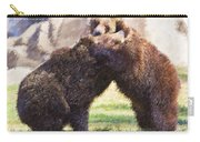 Two Grizzly Bears Ursus Arctos Play Fighting Carry-all Pouch
