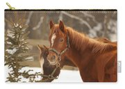 Two Horses In Winter Day Carry-all Pouch
