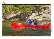 Two Men In A Tandem Canoe Carry-all Pouch