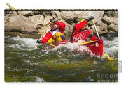 Two Men Paddling A Red Whitewater Canoe Carry-all Pouch