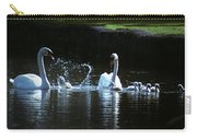 Two Mute Swans With Young Cygnus Olor Carry-all Pouch