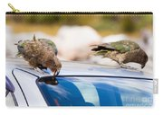 Two Nz Alpine Parrot Kea Trying To Vandalize A Car Carry-all Pouch