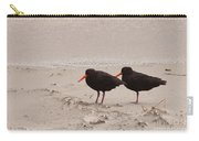 Two Oystercatchers Haematopus Unicolor On Beach Carry-all Pouch