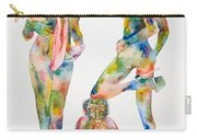 Two Psychedelic Girls With Chimp And Banana Portrait Carry-all Pouch by Fabrizio Cassetta