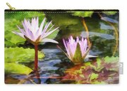 Two Purple Water Lotus Carry-all Pouch