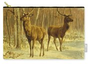 Two Stags In A Clearing In Winter Carry-all Pouch