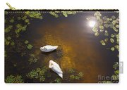 Two Swans With Sun Reflection On Shallow Water Carry-all Pouch