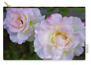 Two White Roses Border Carry-all Pouch