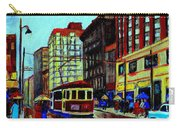 Umbrellas In The Rain Couples Stroll St.catherine Street Downtown Montreal Vintage  City Scene  Carry-all Pouch