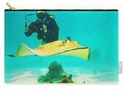 Underwater Photographer And Stingray Carry-all Pouch