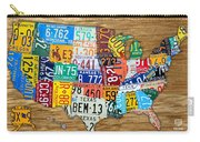 Usa License Plate Map Car Number Tag Art On Light Brown Stained Board Carry-all Pouch by Design Turnpike